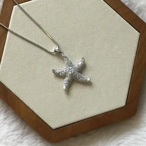 Jewelry - Sterling Silver Crystals Starfish Necklace